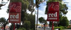This Red Rooster sign in Australia is attracting customers again!
