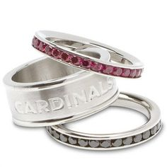 NFL  Arizona Cardinals Team Logo Crystal Stacked Ring Set