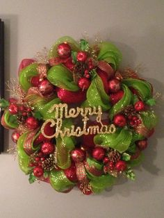 Deco Mesh Decorated Christmas Trees | My first deco mesh Christmas Wreath. This one for ... | Decorating Fun