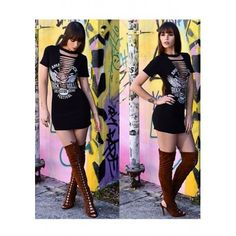 Malang Fashion Black Monogram Rock And Roll Print Hollow-out Bodycon T-Shirt Mini Dress