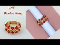 DIY Beaded Vintage Ring with Red Bicone Crystal Beads and Gold Seed Beads复古风串珠戒指 - Diy Jewelry Vintage Bead Jewellery, Diy Jewelry, Beaded Jewelry, Jewelry Making, Beaded Bracelets, Diy Beaded Rings, Diy Rings, Diamond Initial Necklace, Thin Gold Rings