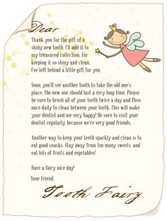 Download a letter from the tooth fairy
