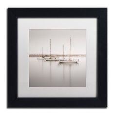 Trademark Fine Art Three Boats Canvas Art by Moises Levy White Matte, Black Frame, Size: 11 x 11