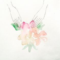 Hands on Spring Experience. #illustration #watercolor #flowers #illustrator