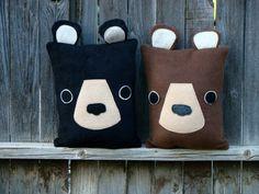 bear pillow brown bear black bear woodland throw by telahmarie Black Bear, Brown Bear, Unicorn Pillow, Best Pillow, Inspiration For Kids, Felt Hearts, Softies, Diy For Kids, Wool Felt