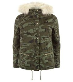 Curves Camo Print Faux Fur Hooded Jacket | New Look