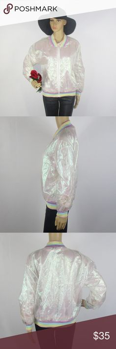 VTG 90's Miss J Rainbow Pride Jacket Pearlescent This stunning jacket is in excellent condition. This jacket is very sheer! As always offers and bundles are welcome. Feel free to add one or more items to a bundle for a private discount offer!!!  Armpit to armpit is 21 inches across Sleeve length is 19 inches Waist is 17.5 inches across Hips are 18 inches across Length is 22 inches Miss J Jackets & Coats