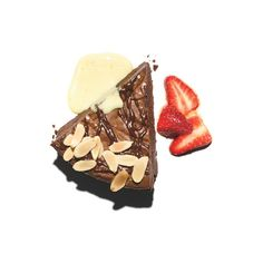 Chocolate Truffle Pie with Orange-Champagne Sabayon and Strawberries ❤ liked on Polyvore featuring food, sweets and filler