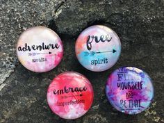 Adventurous Spirit Magnet Set (set of 4) Blue, Purple, Pink, Cream, inspirational boho chic magnet set, Glass Dome Magnets, Cubicle Decor