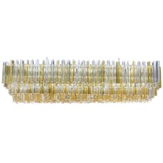 Bold and beautiful! Large Rectangular Italian Murano Gold and Clear Prism Chandelier (5 ft. wide) | From a unique collection of antique and modern chandeliers and pendants  at @1stdibs http://www.1stdibs.com/furniture/lighting/chandeliers-pendant-lights/