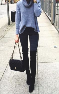 Grey cowl neck sweater/jumper, skinny black jeans, black high knee boots and black handbag. #boots #skinny-jeans