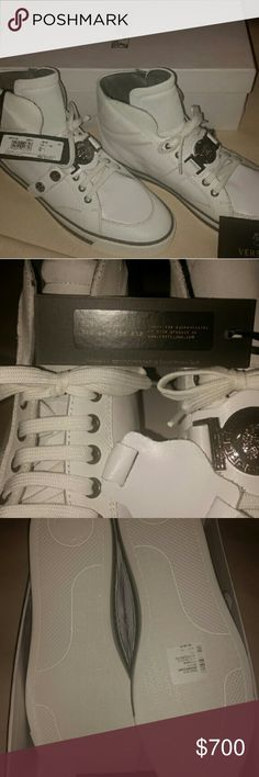 Versace Collection Shoes Iconic Medusa Buckle High Gianni Versace Collection Shoes Iconic Medusa Buckle Luxury High-Top Walking Casual Sneakers.   MSRP: $850  100% Authentic.  Size: US 9, EUR 42, JPN 27, UK 8.  Color: White.  Brand New With Tags Unworn in The Box.  I will double box to keep box new, when shipped. Soldout Deadstock Item.   Head-turning hardware punches up a bold sneaker crafted from high-quality leather for versatile appeal.  Lace-up style, with gunmetal Medusa medallion & 2…