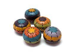 5 round striped multicolor beads original by OrlyFuchsGalchen