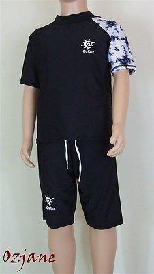 Kavkas 2-Piece Rashguard Set for Boys Swimwear with Sun Protection Cartoon Printed Elastic Swimming Trunk 3T Blue 3T Brown