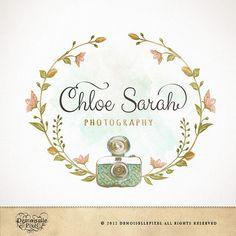 Hand drawn Photography Logo Wreath & Camera Watercolor Design for Photographer