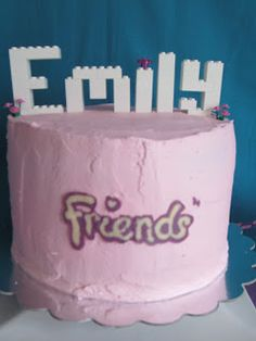 Lego cake (print logo, put under waxed paper, and used melted chocolate in bag to pipe logo on; let harden and place on cake). Lego Friends Cake, Lego Friends Birthday, Lego Friends Party, Lego Friends Sets, Girls Lego Party, Lego Girls, Lego For Kids, 5th Birthday Cake, Lego Birthday Party