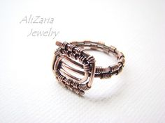 Geometric Ring  Copper  Patina  Entirely by AliZariaJewelry, $20.00