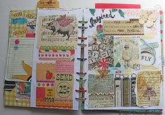 glue travel memorabilia, snap shots, pieces of NP brochures, maps, little notes of local info, local newspaper clippings. combo smash - art journal