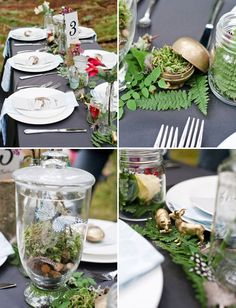 Bring nature inside.. little animals. mushrooms, butterflies... I promise it will be an unexpected delightful surprise that your guests will LOVE