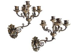 Ornate wall Sconces, Pair Antique Solid Brass Victorian Wall sconces - 5 Arm Wall Candle Holders, Candle Wall Sconce.