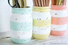 Spring Inspired Striped Jars - The Crafted Sparrow
