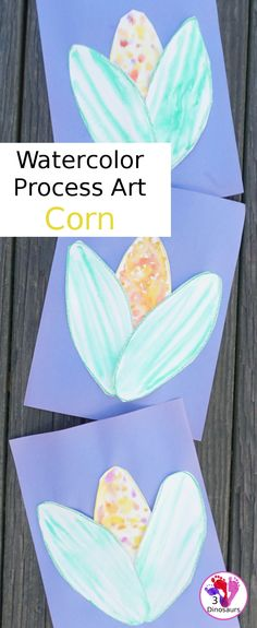 Watercolor Process Art Corn - a fun activity to make corn for a Thanksgiving or harvest celebration - 3Dinosaurs.com #watercolorforkids #processart #funart #3dinosaurs Thanksgiving Activities For Kids, Thanksgiving Crafts, Crafts For Kids, Arts And Crafts, Kids Watercolor, Watercolor Paper, Process Art, Craft Activities, Dinosaurs
