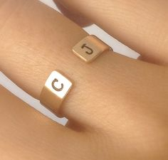 Initial Ring Personalized Gold Ring Couples by GoldCrushJewelry