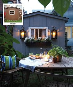 The cottagey exterior provides the perfect backdrop for summer entertaining Photographer Michael Graydon Designer Stacy Begg Lauren Petroff Backyard Storage Sheds, Backyard Sheds, Shed Storage, Backyard Studio, Garden Sheds, Extra Storage, Backyard Patio, Outdoor Rooms, Outdoor Dining