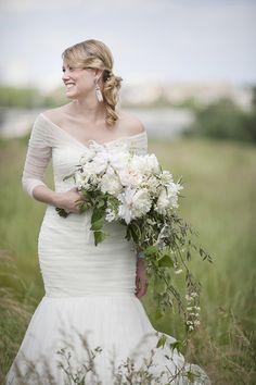 Celeste & Brian | Seersucker Wedding at Bartram's Garden - bouquet! and that dress!