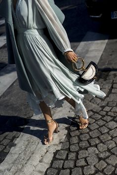 Mint dress and rose gold accessories