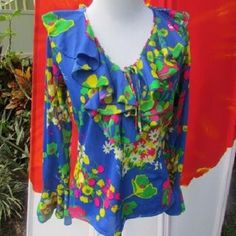 SEXY Vintage 60s 70s signed MARC Mod Hippie FAIRY Ruffled Fantasy Top Small #MARC
