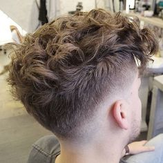 High Fade + Messy Curly Hair On Top