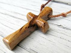 Wood Cross Necklace  African Zebrawood by The Lotus Shop, $14.95