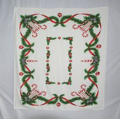 Vintage Christmas Tablecloth Ornaments Candy Canes Mid Century Kitchen