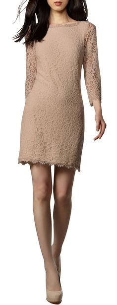 DIANE VON FURSTENBERG nude lace v-back dress found at Nudevotion.com