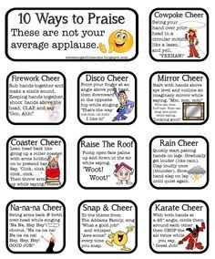 I LOVE using cheers in the classroom! Kids love it too...they are almost llke mini brain breaks, plus they raise engagement! Here are ten great ones!!!