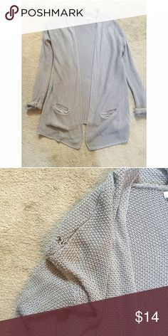 Long Grey Cardigan Good Condition! Only problem is the small hole but it can easily get sewn together Sweaters Cardigans