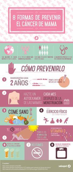 8 formas de prevenir el cáncer de mama http://blog.saluspot.com/8-formas-prevenir-cancer-mama/ #breastCancer #salud #infografia
