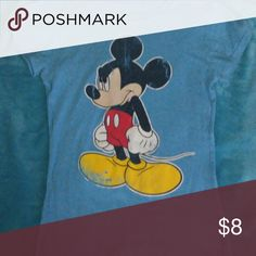 Disney micky mouse shirt Blue with Micky on the front disney Tops Tees - Short Sleeve