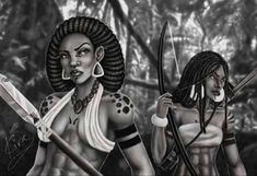 Native American Male and African Woman by KiraTheArtist on DeviantArt African American Art, African Women, African Art, Black Women Art, Black Art, Black Cartoon, Cartoon Art, Black Characters, Fantasy Characters