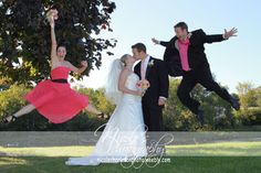 Pic with maid of honor and best man jumping. Can you picture me and will?! Haha