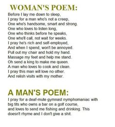 Womans poem vs a mans poem