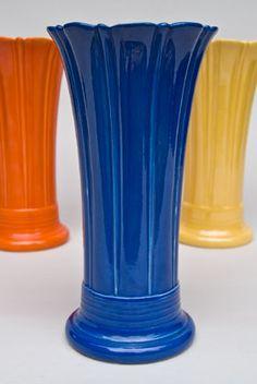 Vintage Fiesta 10 inch Original Cobalt  Fiestaware Pottery Vase - American Antique Pottery