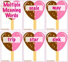 Free! Multiple Meaning Heart Pops! 23 cards!