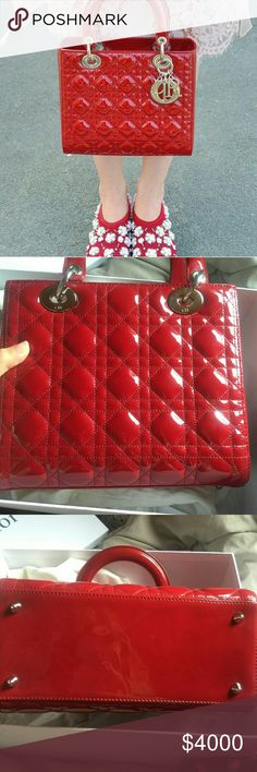 Medium Lady Christian Dior Handbag Gently used! Still very New!..100% auth! Come with full package...box..dust bag ..n stamped authentic card. Excellent condition. Used only 2 time.. Christian Dior Bags Crossbody Bags