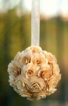 Shelby and Jordan// Birch wood roses ball decoration. Wedding Chair Decorations, Ball Decorations, Wedding Chairs, Gold Wedding Theme, Wedding Rustic, Wedding Flowers, Wedding Ideas, Flower Girl Basket, Flower Girls