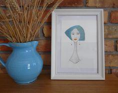 Original Watercolor Portrait, Fashion Hairstyle Illustration, Illustration Watercolor, Long earrings, Girl blue hair, Fashion Art Drawings by NataliaKasperowArt on Etsy