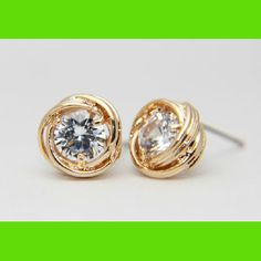 Golden Trim Rhinestone Earrings | LilyFair Jewelry, $10.99!