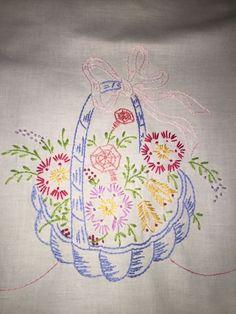 Vintage Embroidered Runner Pink Blue Basket Flowers Variegated Crocheted Edge
