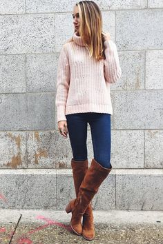Keep warm and cozy this season in our mixed-stitch turtleneck sweater. Blair Staky from The Fox styles it with a pair of dark wash jeans and light brown knee-high boots | Banana Republic